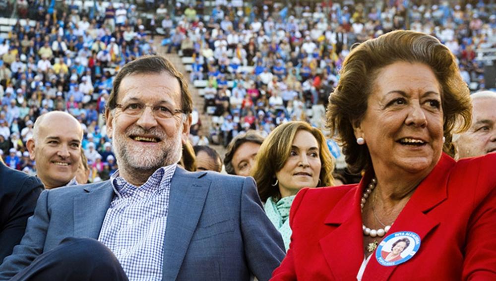 Mariano Rajoy y Rita Barberá en un acto electoral