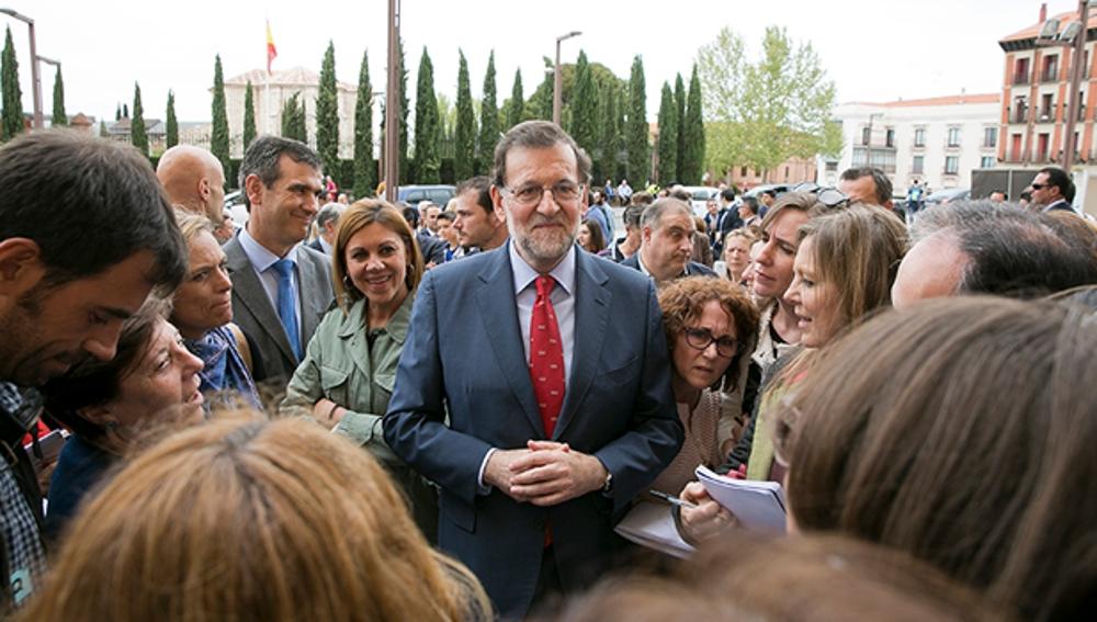 Mariano Rajoy y Cospedal en un acto del PP