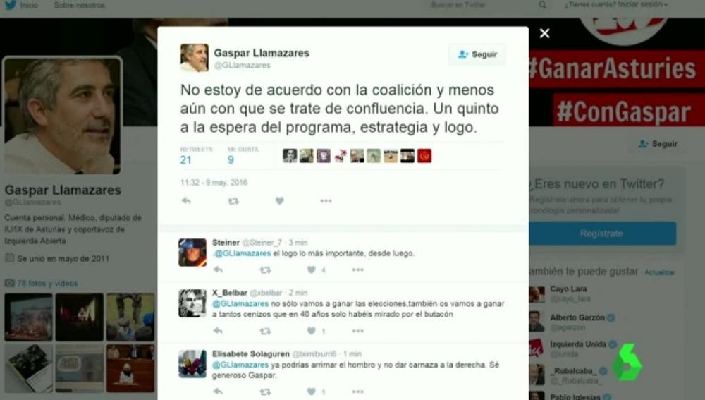 Tuit de Gaspar Llamazares
