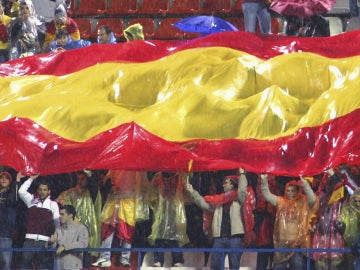 Bandera de España, en un campo de fútbol