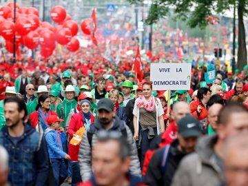 Protesta en Bruselas contra las políticas de austeridad