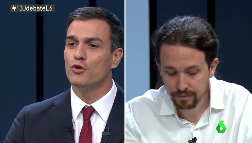 Pedro Sánchez y Pablo Iglesias, en el debate a cuatro
