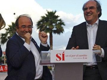 Miquel Iceta y Gabilondo, durante un mitin del PSOE