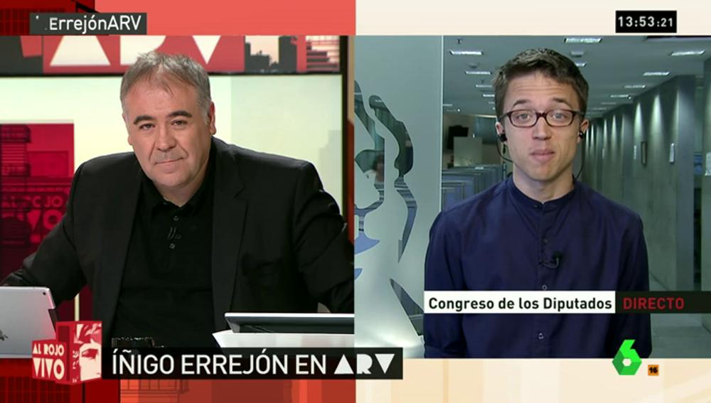 """Frame 5.015867 de: Errejón: """"Si todos los partidos se mantienen firmes, Rajoy tiene complicado ser presidente"""""""