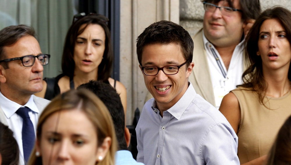 El portavoz de Unidos Podemos en el Congreso, Íñigo Errejón, a su llegada a la Cámara Baja