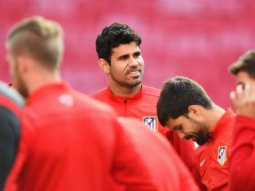 Diego Costa, durante un entrenamiento con el Atlético de Madrid