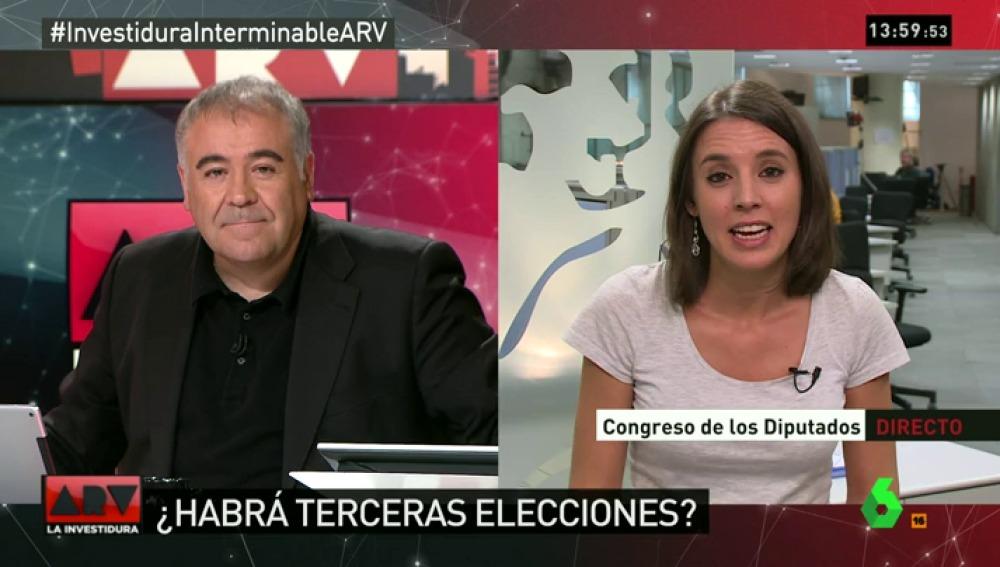 """Irene Montero: """"Un gobierno en progreso es uno de PSOE y Podemos; si Ciudadanos lo quiere apoyar, perfecto"""""""