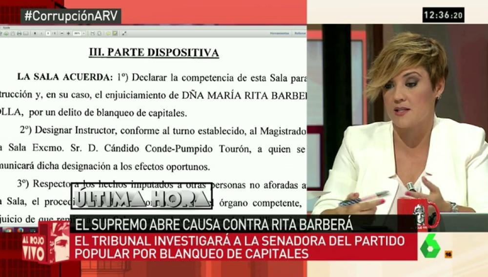 """Cristina Pardo: """"El PP dice que en realidad Rita no está imputada, sino investigada, así que esperarán para actuar"""""""