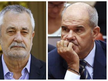 Fotografías de archivo de los expresidentes socialistas andaluces José Antonio Griñán y su antecesor, Manuel Chaves.