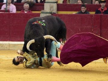 Padilla es embestido por el toro en Zaragoza