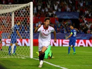 Vietto celebra su gol ante el Dinamo