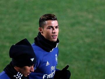 Cristiano Ronaldo, en un entrenamiento en Japón