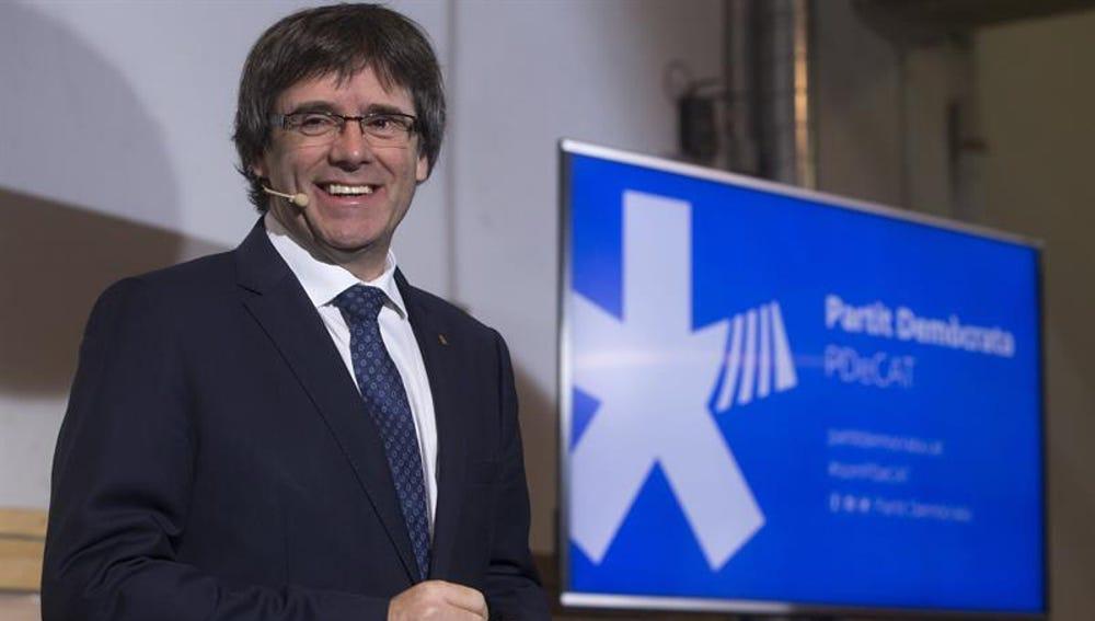 Carles Puigdemont en el acto del PDeCat