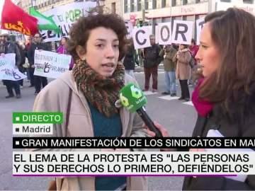 Adriana, estudiante en la manifestación sindical
