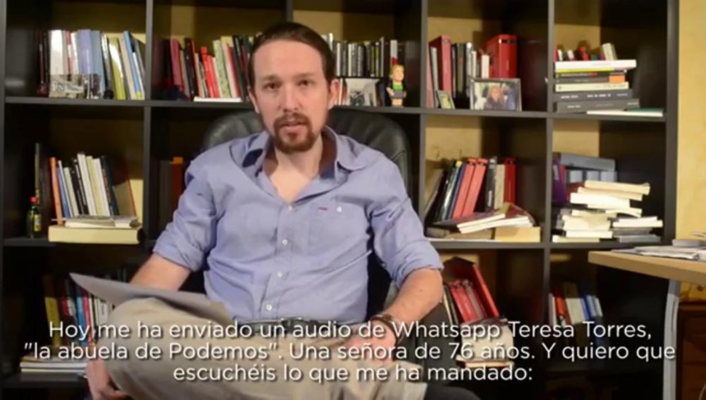 "Frame 6.797925 de: Pablo Iglesias pide perdón tras recibir un mensaje de la 'abuela de Podemos': ""Sé que os estamos avergonzando"""