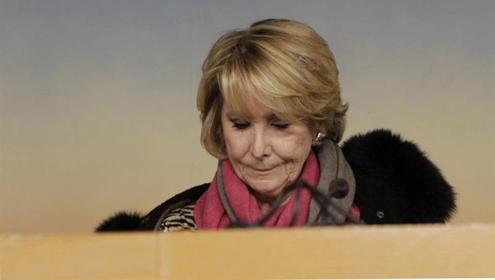 Esperanza Aguirre, durante una rueda de prensa