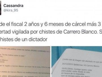 Imagen del tuit en el Cassandra denuncia la petición de cárcel de la Fiscalía por los chistes sobre Carrero Blanco