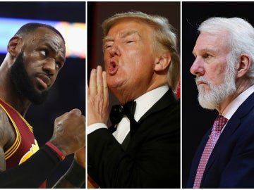 LeBron James, Donald Trump y Gregg Popovich