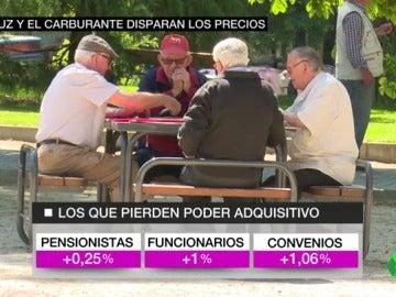 Frame 60.958106 de: Los trabajadores y pensionistas pierden poder adquisitivo tras la subida del IPC hasta el 3% por la luz y los combustibles