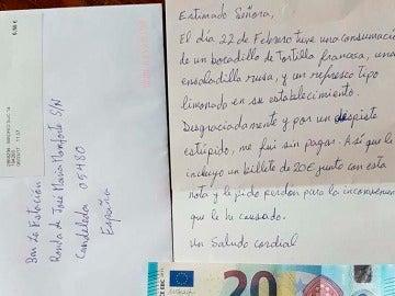 Carta de disculpa que el cliente envió al restaurante