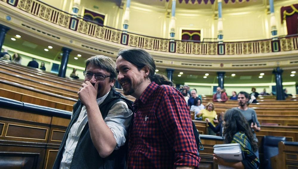 Xavier Doménech y Pablo Iglesias, en el Congreso