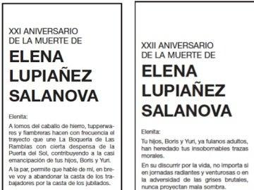 Esquela Elena Lupiañez