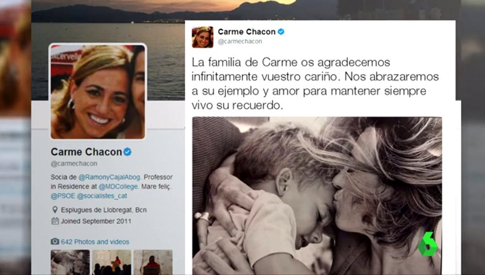 Tuit publicado por la familia de Carme Chacón
