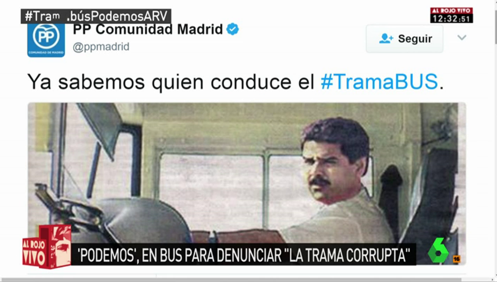 """Frame 20.395098 de: La respuesta del PP de Madrid al 'tramabús' de Podemos: """"Ya sabemos quién lo conduce"""""""