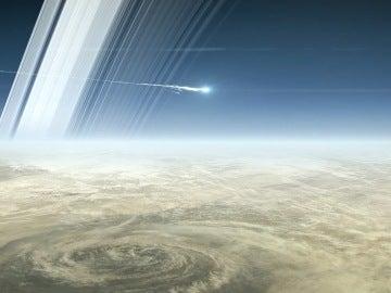 Sonda Cassini entrando en la atmósfera de Saturno