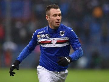 Antonio Cassano en un partido con la Sampdoria
