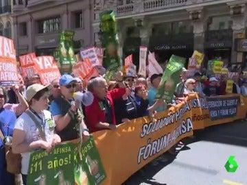 Durante la manifestación de Fórum Filatélico y Afinsa