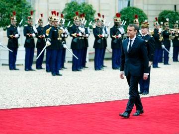 Emannuel Macron llegando al acto de investidura