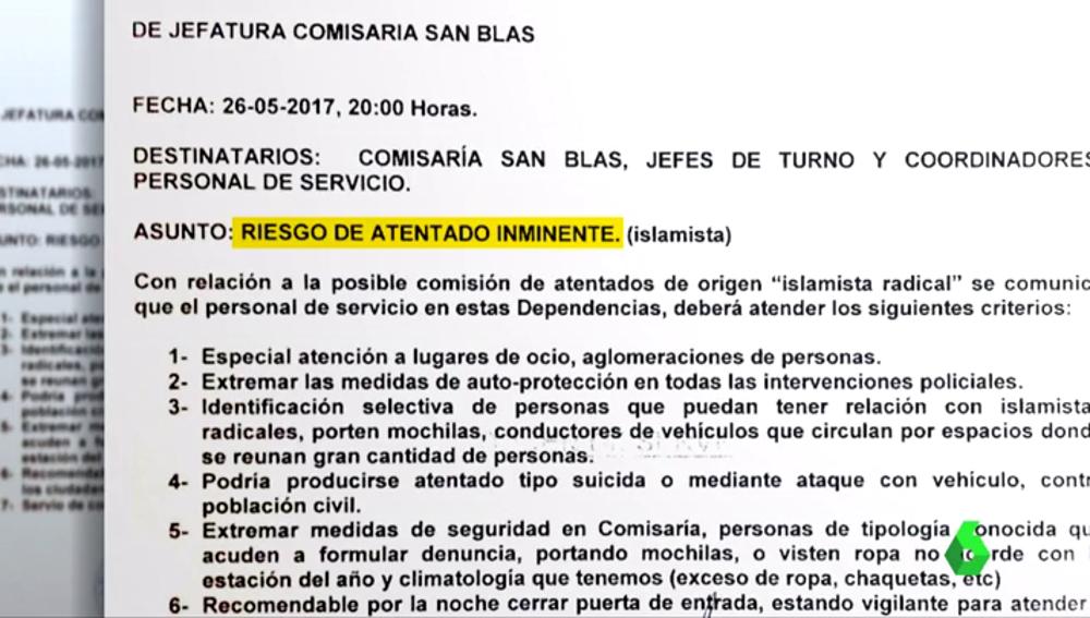 La Policía desmiente el documento de la Comisaría de San Blas