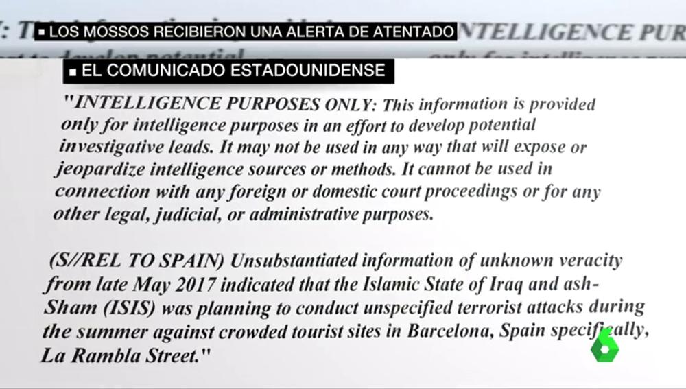 """EEUU alertó en mayo a España de que Daesh planeaba atentar """"específicamente en La Rambla"""" en verano"""