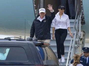 Donald Trump en su visita a las principales zonas afectadas por el huracán Harvey en Texas el pasado día 29 de agosto