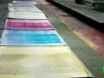 Las planchas con las que se iban a imprimir la cartelería del referéndum del 1-O