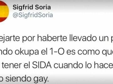 Tuit de Sigfrid Soria, exdiputado del PP