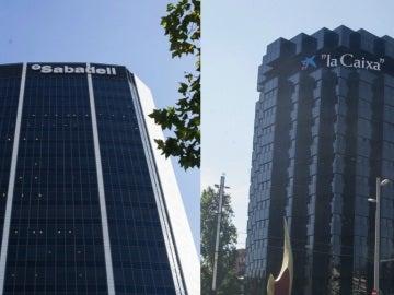 Sedes de CaixaBank y Sabadell