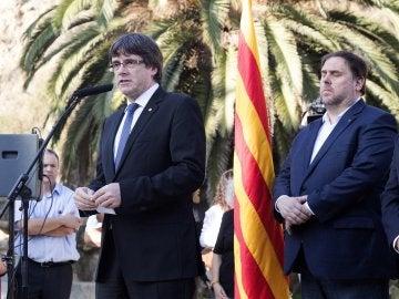 El presidente de la Generalitat, Carles Puigdemont durante el homenaje al exexpresident Luís Companys