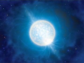 Recreación de la fusión de dos estrellas de neutrones