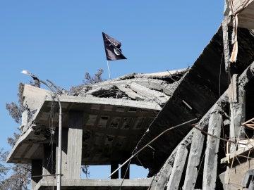 Una bandera de Daesh ondea sobre un edificio destruido cerca de la Plaza del Reloj de siria