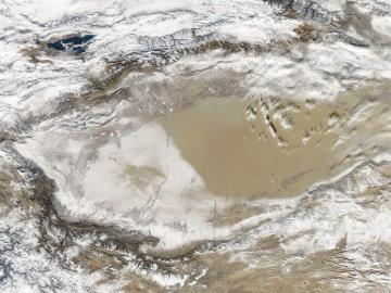 Imagen aérea del desierto de Taklimakan