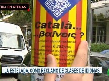 Pegatinas independentistas alrededor del hotel del Barça