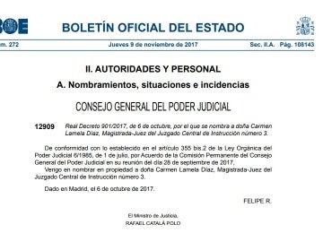 Nombramiento de la juez Carmen Lamela como titular de la Audiencia Nacional