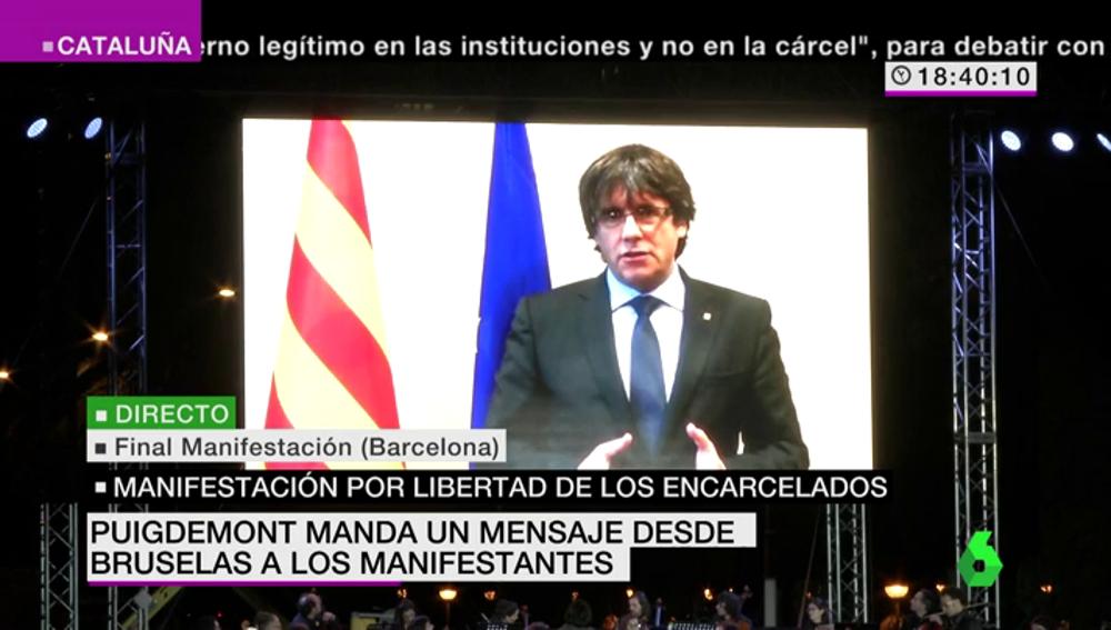 """Puigdemont manda un mensaje desde Bruselas a los manifestantes: """"No hay barrotes ni exilio que nos puedan disuadir"""""""