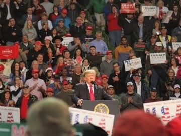 El presidente de EEUU, Donald Trump, durante el mitin