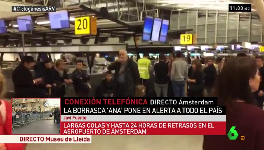 """Javi Fuente: """"Hay gente que lleva 24 horas de retraso. Hay un caos absoluto en el aeropuerto de Ámsterdam"""""""