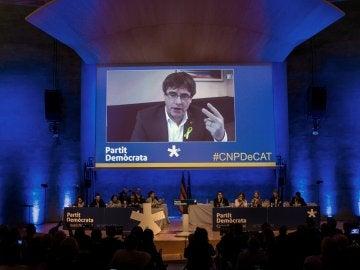 Carles Puigdemont, interviene en el Consell Nacional de su partido por videoconferencia