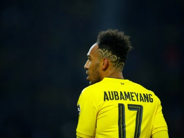 Aubameyang, durante un partido con el Borussia Dortmund