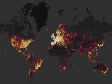 Mapa de localización GPS con los usuarios de pulseras deportivas